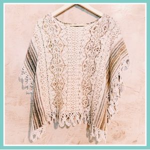 BOHO Shiny Knit Poncho Cape Fringe Sweater